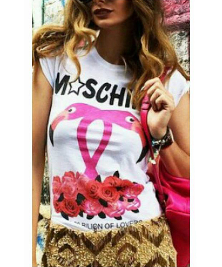T-SHIRT MOSCHINO FLAMINGOS