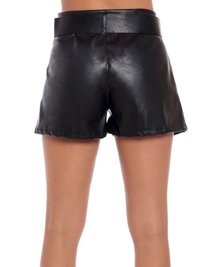 SHORTS IN ECOPELLE CON CINTURA